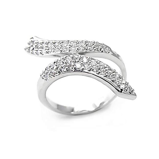 Silver Tone Pave Fashion Ring Clear CZ