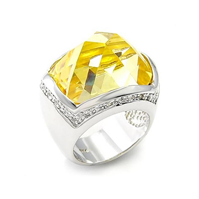 Petite Sterling Silver .925 Ring Citrine Yellow CZ
