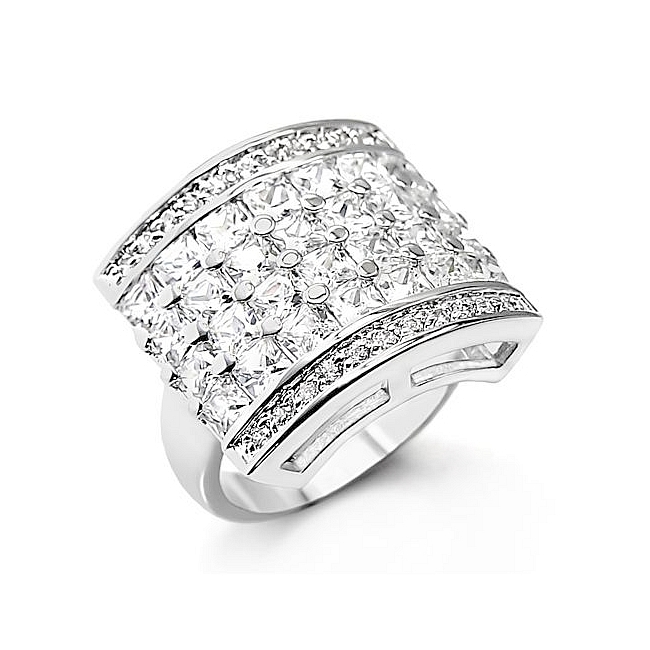 Classic Sterling Silver .925 Ring Clear Cubic Zirconia