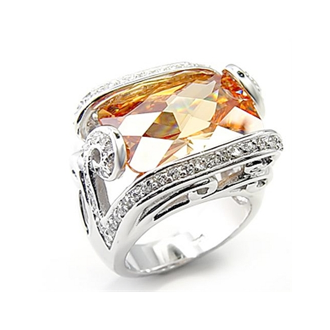 Sterling Silver .925 Ring Champagne CZ