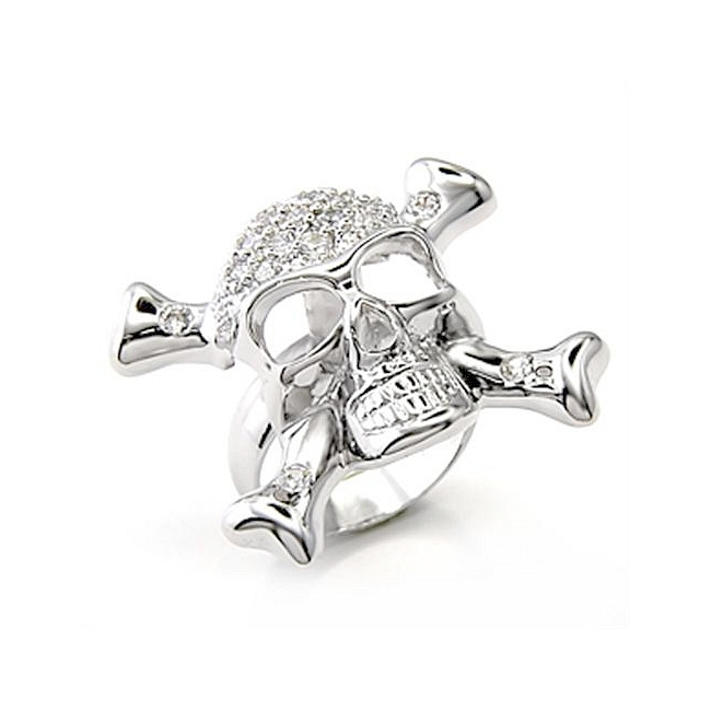 Sterling Silver .925 Skull Ring Clear Cubic Zirconia