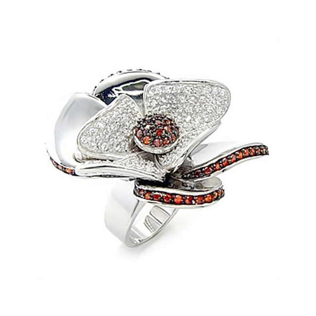 Petite Sterling Silver .925 Pave Ring Garnet CZ