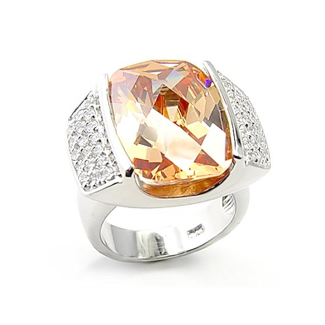 Sterling Silver .925 Ring Champagne Cubic Zirconia
