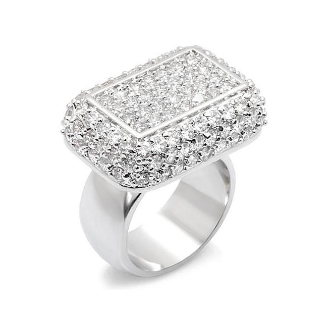 Sterling Silver .925 Pave Ring Clear CZ
