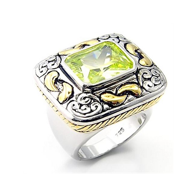 Sterling Silver .925 Ring Apple Yellow CZ