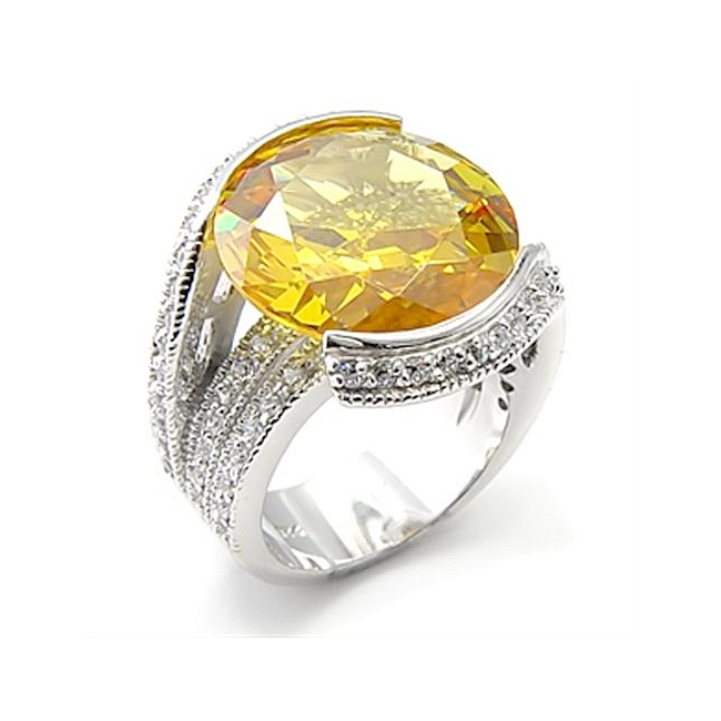 Stunning Sterling Silver .925 Ring Topaz Cubic Zirconia