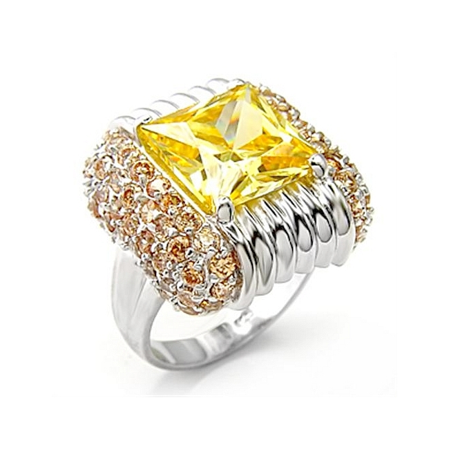 Exclusive Sterling Silver .925 Ring Topaz Cubic Zirconia