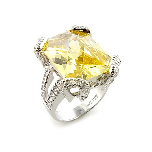 Sterling Silver .925 Ring Citrine Yellow Cubic Zirconia