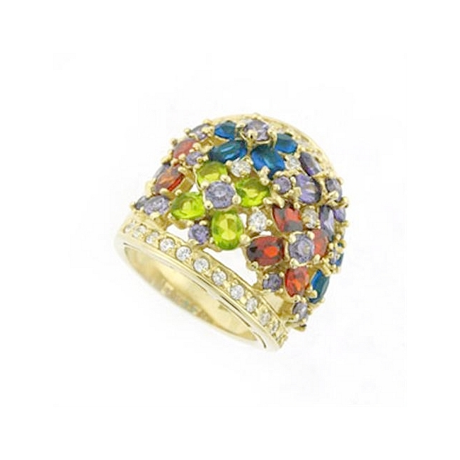 Sterling Silver .925 Ring Multi Color Cubic Zirconia