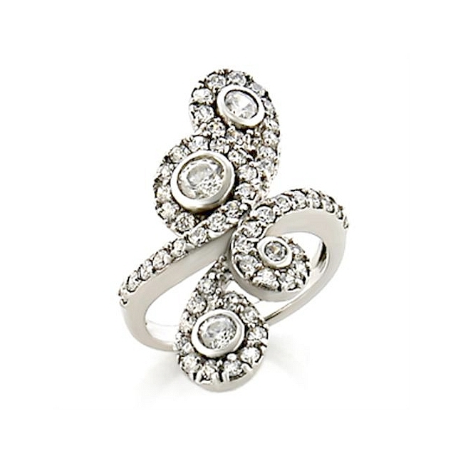 Exclusive Silver Tone Flower Fashion Ring Clear CZ