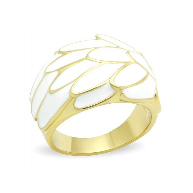 14K Gold Plated Band Fashion Ring with White Leaf Design
