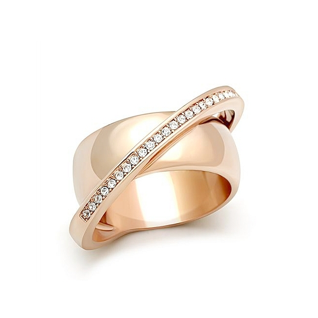 ITALIAN Design 14K Rose Gold Plated Unique Wedding Ring