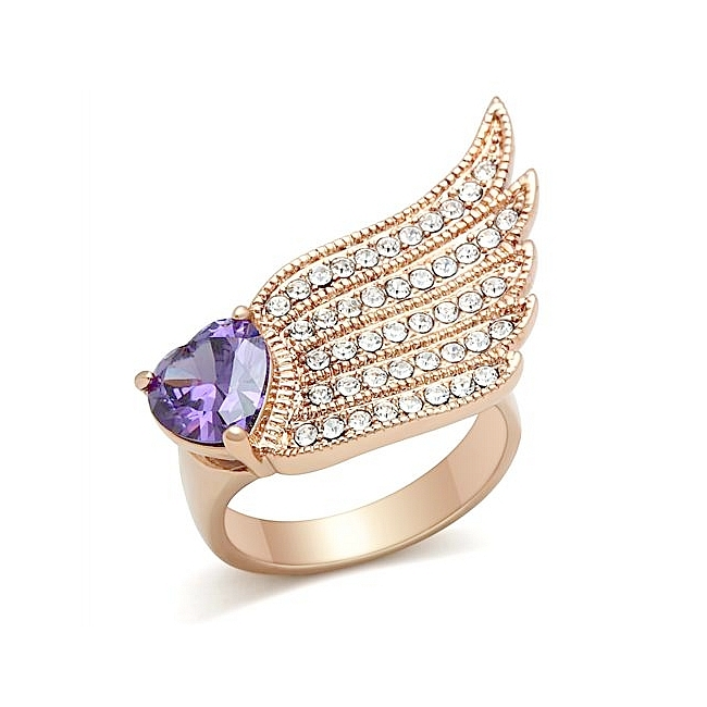 Lovely 14K Rose Gold Plated Heart Wings Fashion Ring Amethyst Cubic Zirconia