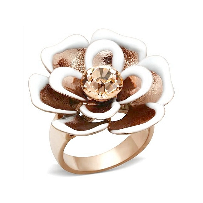 14K Rose Gold Plated Flower Fashion Ring Light Peach Crystal