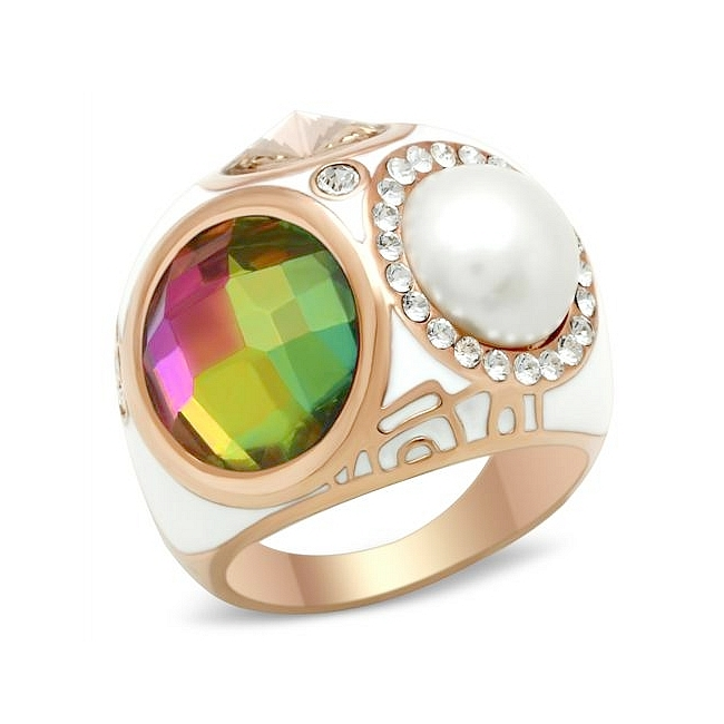 14K Rose Gold Plated Fashion Ring Multi Color Synthetic Glass