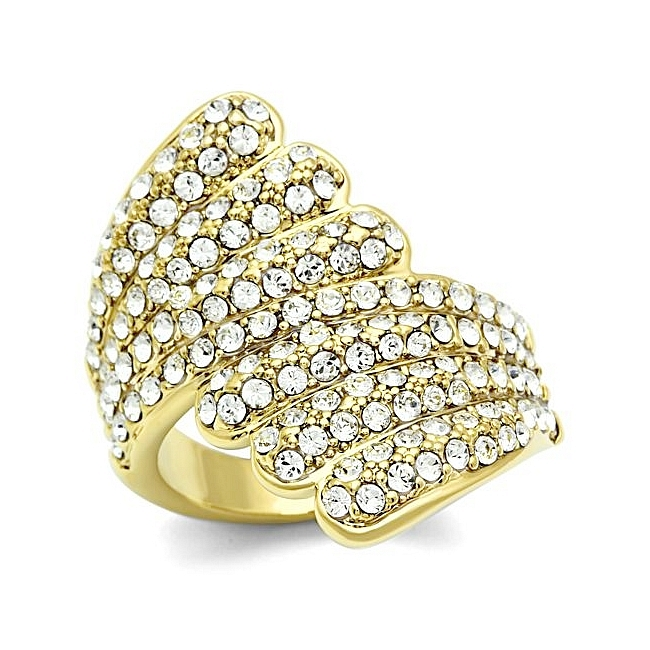 14K Gold Plated Pave Fashion Ring Clear Crystal