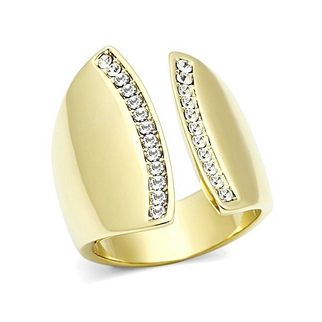 Modern Channel Set Fashion Ring with Crystal 14K Gold Plated