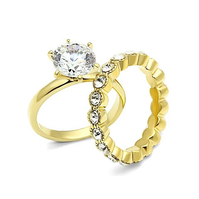 Exclusive Niagara 14K Gold Plated Cubic Zirconia Wedding Set