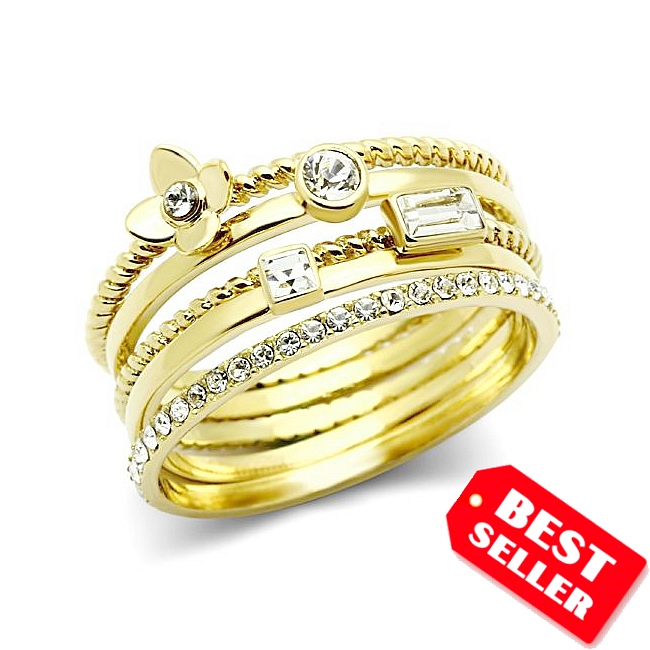 5 Band Fashion Ring with Clear Crystal 14K Gold Plated