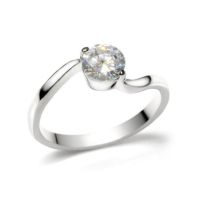 Silver Tone Solitaire Engagement Ring Clear Cubic Zirconia