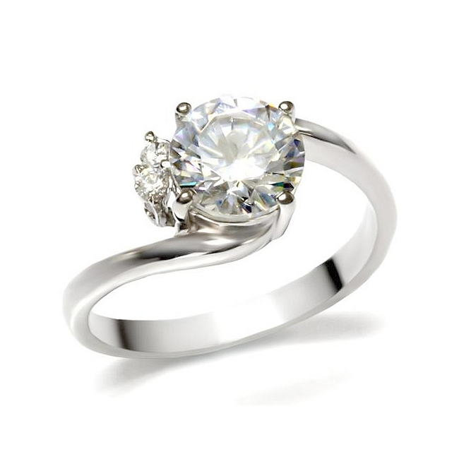 silver tone solitaire engagement ring clear cz - Cheap Wedding Rings Under 100