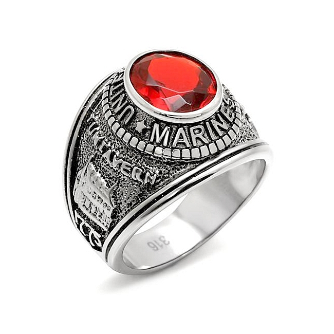 Petite Silver Tone Marines / Military Mens Ring Siam Synthetic Glass