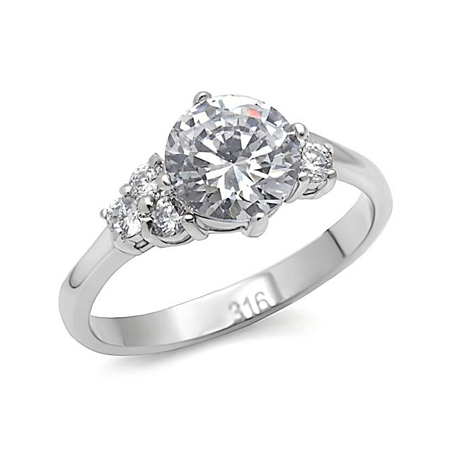 Silver Tone Side Stone Engagement Ring Clear Cubic Zirconia