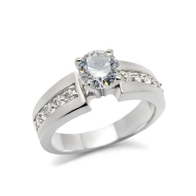 Stunning Silver Tone Vintage Engagement Ring Clear CZ