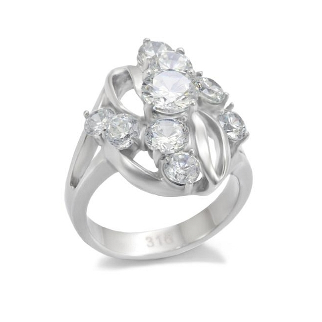 Silver Tone Fashion Ring Clear Cubic Zirconia