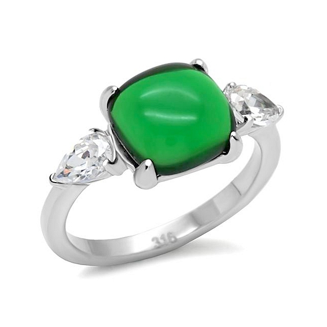 Silver Tone Fashion Ring Emerald Synthetic Jade