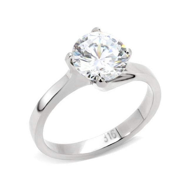 Silver Tone Solitaire Engagement Ring Clear CZ