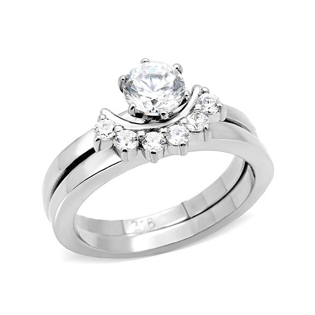 Contemporary Engagement Wedding Ring Set Clear Cubic Zirconia
