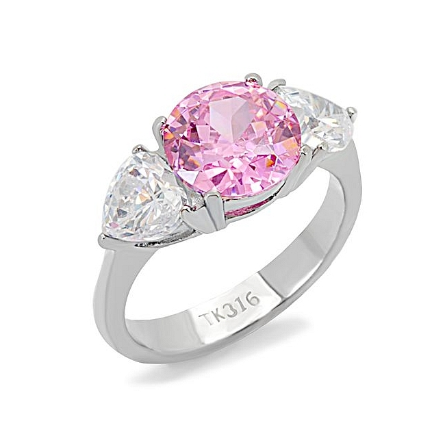 Lovely Silver Tone Fashion Ring Rose CZ