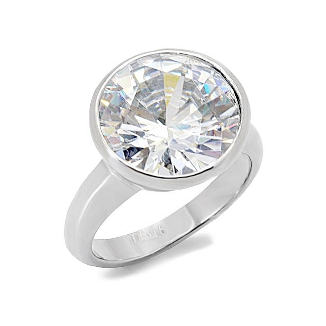 Silver Tone Fashion Ring Clear CZ