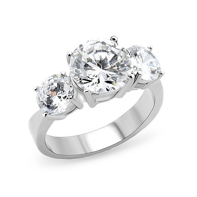 Silver Tone Three-Stone Engagement Ring Clear CZ