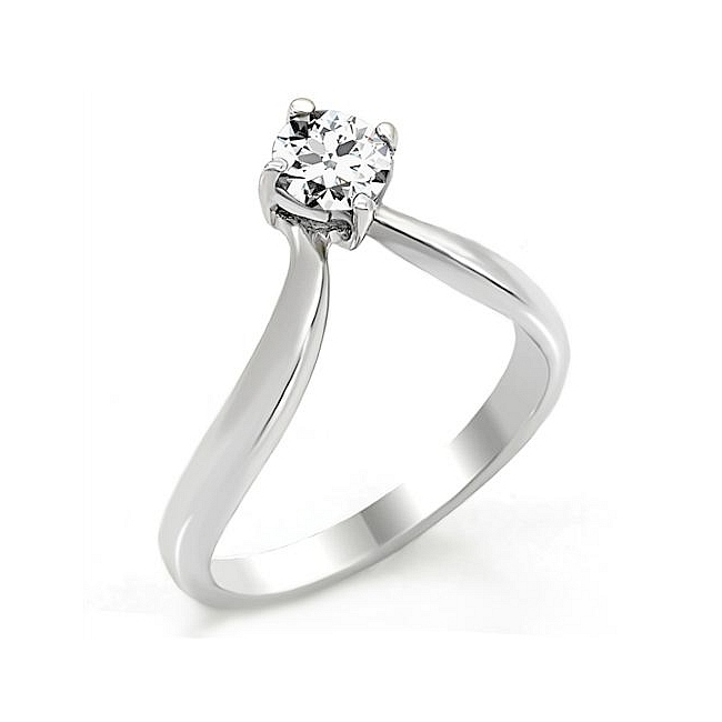 Classic Silver Tone Solitaire Engagement Ring Clear Cubic Zirconia