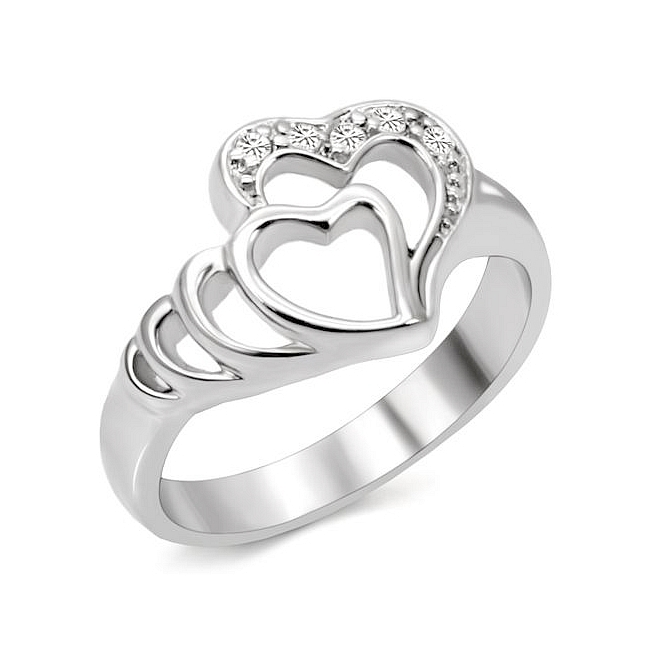 Stainless Steel Heart Ring Clear CZ