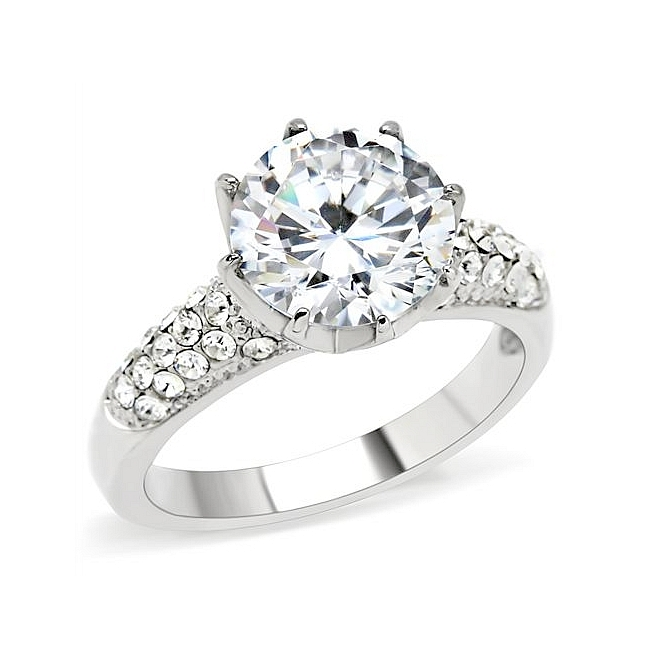 Silver Tone Pave Engagement Ring Clear CZ