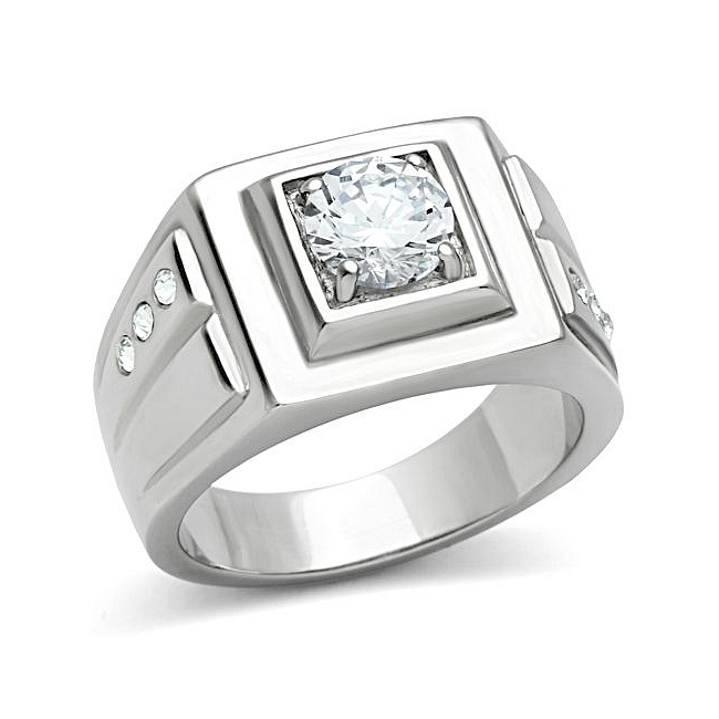 Elegant Silver Tone Square Mens Ring Clear CZ
