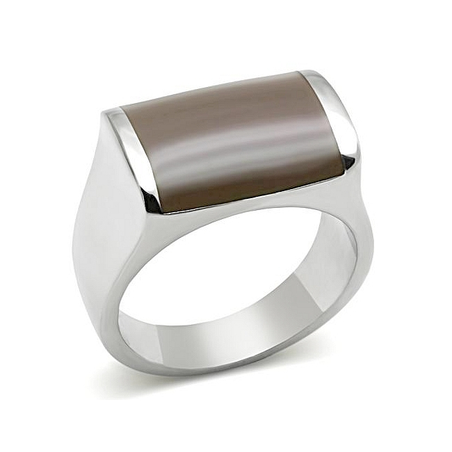 Exclusive Silver Tone Mens Ring Brown Epoxy