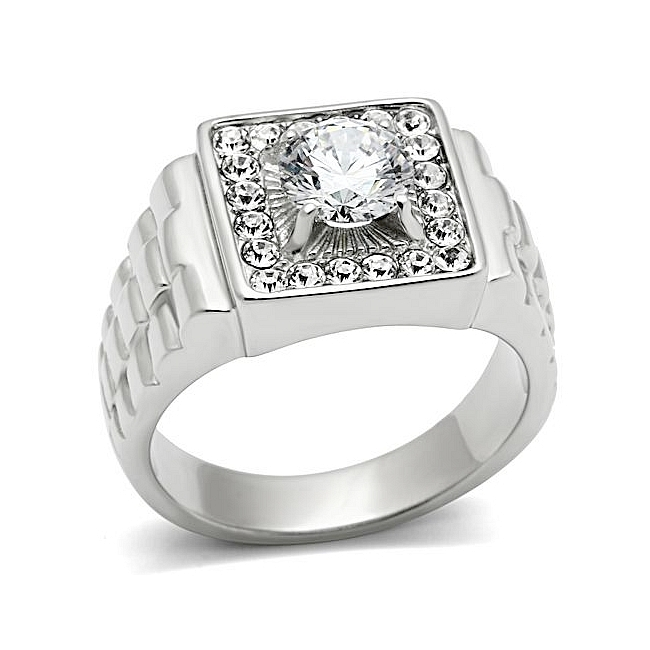 Silver Tone Square Mens Ring Clear CZ