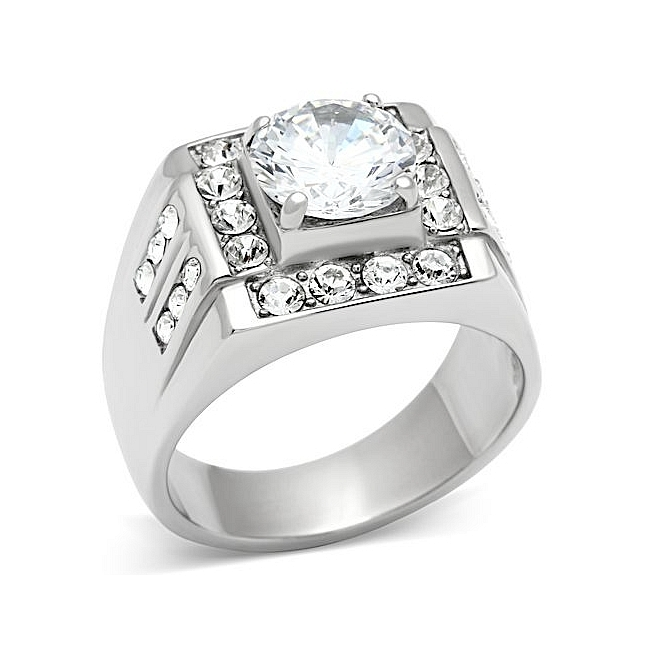 Exclusive Silver Tone Square Mens Ring Clear Cubic Zirconia