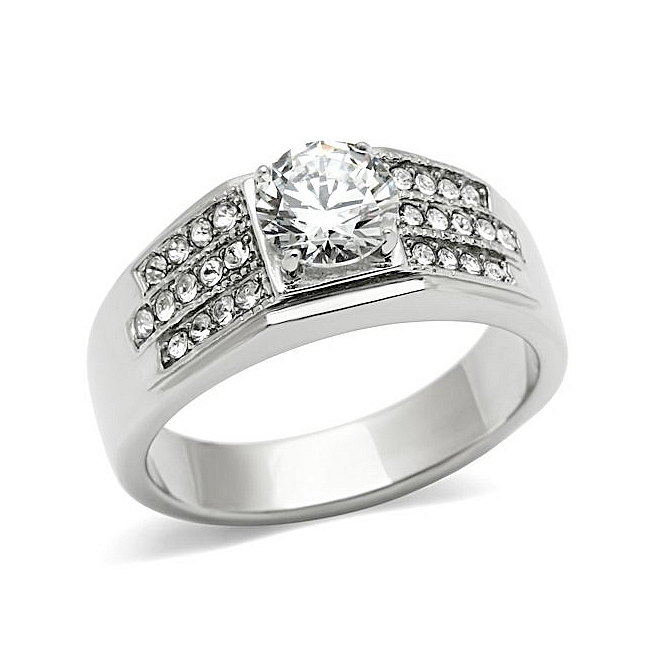 Silver Tone Mens Ring Clear CZ