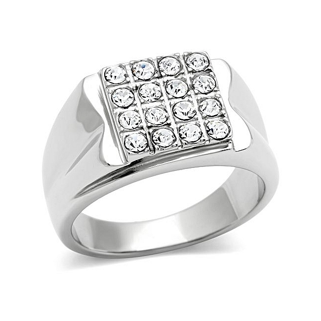 Fancy Silver Tone Square Mens Ring Clear Top Grade Crystal