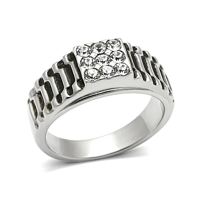 Exquisite Silver Tone Mens Ring Clear Top Grade Crystal