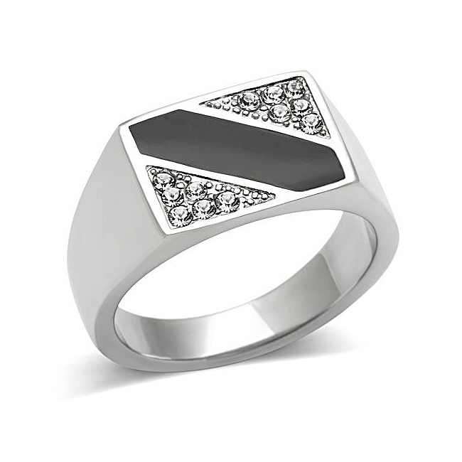 Silver Tone Square Mens Ring Clear Top Grade Crystal
