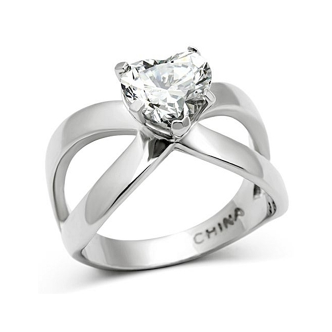 Lovely Silver Tone Mens Ring Clear CZ