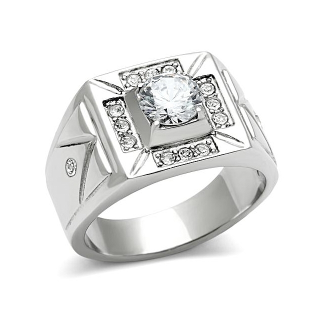 Petite Silver Tone Square Mens Ring Clear CZ