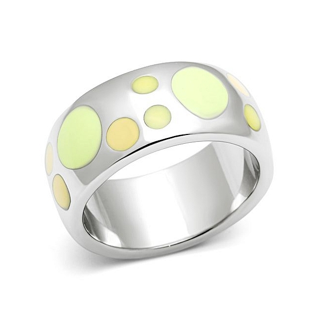 Silver Tone Modern Fashion Ring Multi Color Epoxy