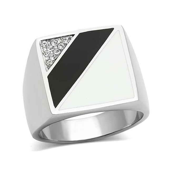 Silver Tone Square Mens Ring Clear Crystal